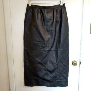 Metrostyle Black Leather Skirt Long Maxi Vent 12